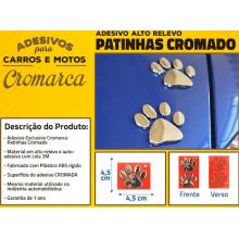 Adesivo CROMADO PATINHAS DOG