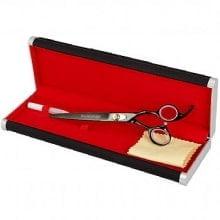 :: Novo!! Pet Grooming Shear Curva 7.5 - Preto Metálico